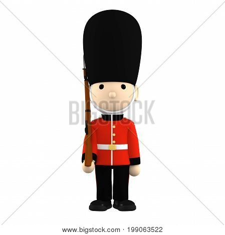 British soldier on white No shadow , 3D illustration