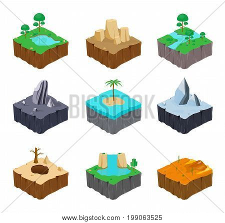 Set of isometric game islands. Cute lake, river, rock, river, island, ice, desert, waterfall canyon locations Colorful vector illustration collection
