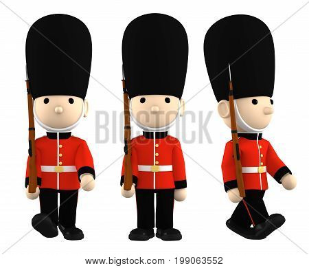 Queen's Guard in traditional uniform with gun. British soldiers on white, 3D illustration