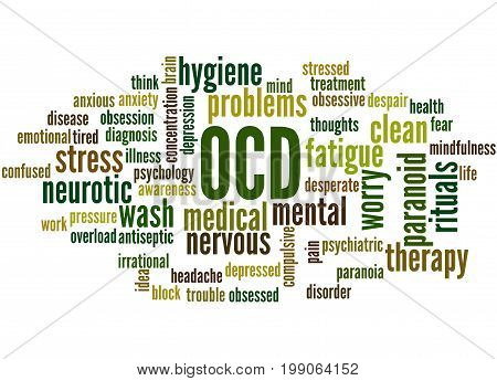 Ocd - Obsessive Compulsive Personality Disorder, Word Cloud Concept 3