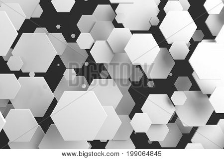 White Hexagons Of Random Size On Black Background