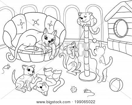 Childrens coloring book cartoon family on nature. Mom cat and kittens children. For adults vector illustration. Anti-stress for adult. Black and white lines