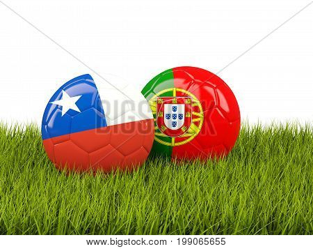Chile And Portugal Soccer Balls On Grass
