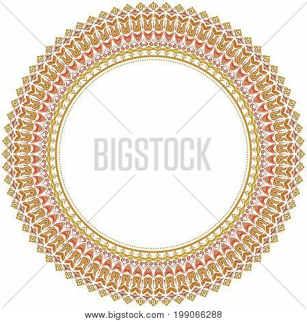Elegant vector colored round ornament in classic style. Abstract traditional pattern with oriental elements. Classic vintage pattern