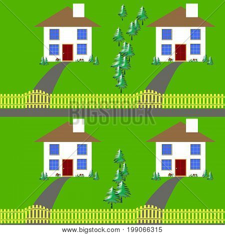 identical houses with yellow fences and green trees illustration