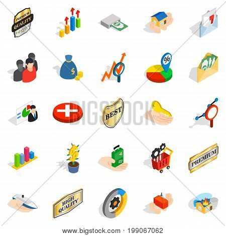 Manual icons set. Isometric set of 25 manual vector icons for web isolated on white background