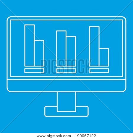 Growing business graph at computer screen icon blue outline style isolated vector illustration. Thin line sign