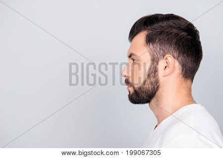 Side Profile Portrait Of A Brunet Guy, Isolated On Pure Light Blue Background. So Trendy And Stylish