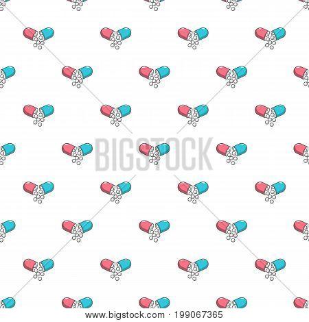Open capsule pill pattern in cartoon style. Seamless pattern vector illustration