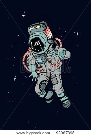 Astronaut in spacesuit. Cosmonaut in space on the dark background of stars. Colorful vector illustration