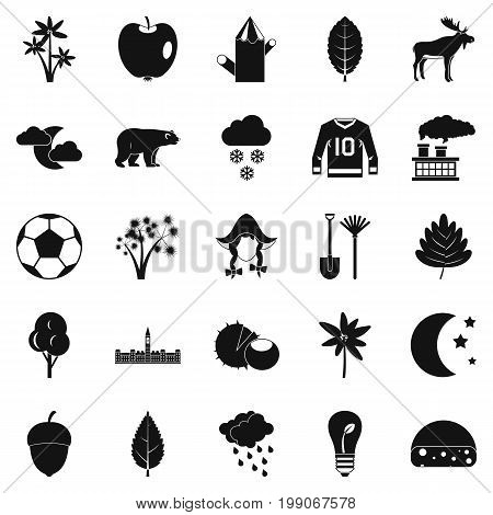 Leafage icons set. Simple set of 25 leafage vector icons for web isolated on white background