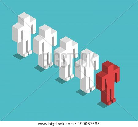 Isometric red man leading many white ones. Leadership, management and team concept. Flat design. EPS 8 compatible vector illustration, no transparency, no gradients