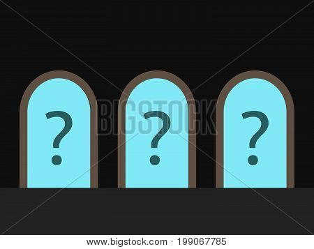 Three open doors in dark room leading to blue sky with question marks. Choice, uncertainty, opportunity and decision concept. Flat design. EPS 8 vector illustration, no transparency, no gradients