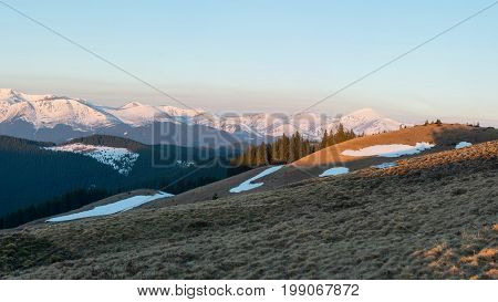 Snowy Mountains Hiking Active Tourism Sports Recreational Idyllic View Harmony Nature. Picture Aspec