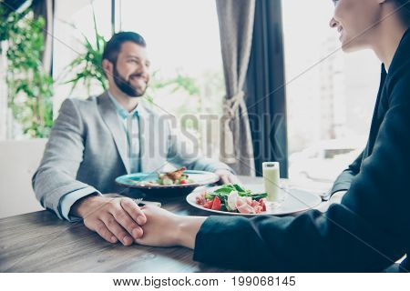 Low Angle Cropped Photo Of Couple In Love, Having Business Lunch During Work Lunch Break Together, H