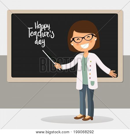 Happy teachers day vector illustration. Young female teacher with pointer showing on board