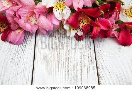 Alstroemeria Flowers On A Table