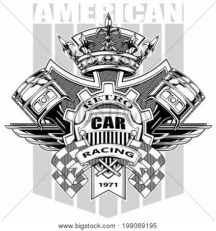 Black and white graphic coat of arms with crossed racing flag pistons royal diamond crown gear and wings on grey background vector