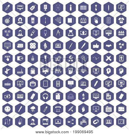 100 webdesign icons set in purple hexagon isolated vector illustration