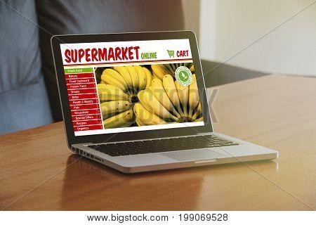Grocery online shop website in a computer display