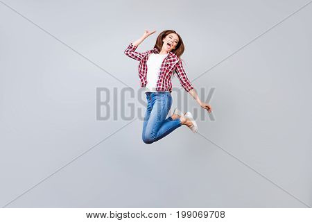 Funky, Happiness, Dream, Fun, Joy Concept. Very Excited Happy Cute Teen Student Is Jumping Up, Showi