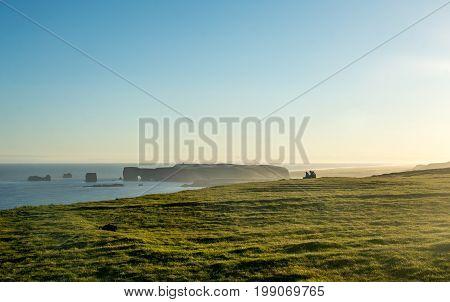 Reynisfjara shore near the village Vik, atlantic ocean, Iceland.
