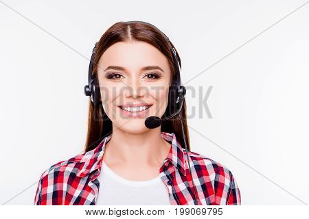 Closeup Portrait Of Successful Young Brunette Girl, Who Is Wearing Headset On A Pure White Backgroun