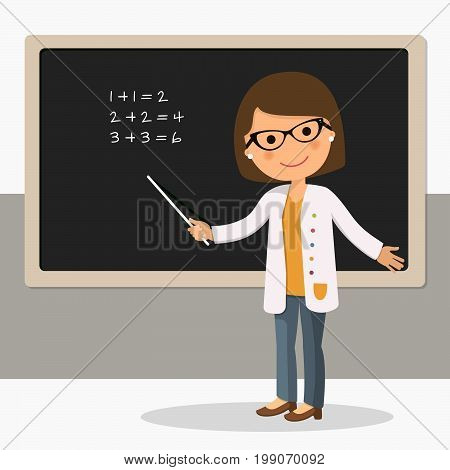 Young female teacher on math lesson at blackboard in classroom. Teacher with pointer teacher showing on board. Vector illustration