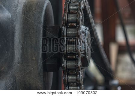 The Old And Vintage Chain Belt Of A Engine