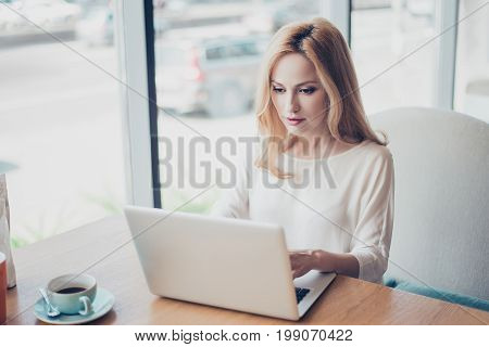 Portrait Of Serious Young Blond Lady Entrepreneur Lawyer, In White Formal Wear, Sitting At Her Work