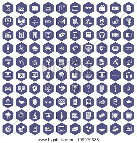 100 website icons set in purple hexagon isolated vector illustration