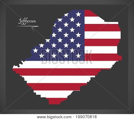 Jefferson County Map Of Alabama Usa With American National Flag Illustration