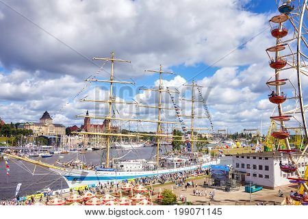 Szczecin Poland - August 06 2017: Final of The Tall Ships Races 2017 in Szczecin seen from Lasztownia island located between the West Oder river and East Oder River.