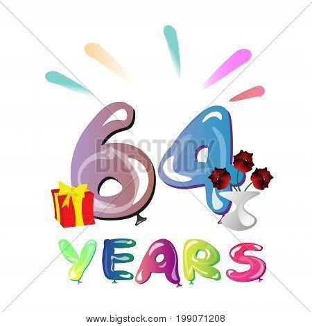 64 years anniversary celebration greeting card. Vector illustration
