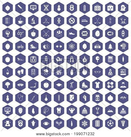 100 well person icons set in purple hexagon isolated vector illustration