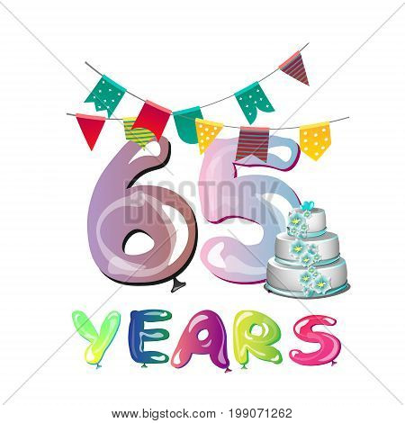 65th Anniversary celebration logo design. Vector illustration