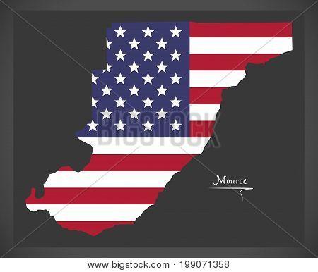 Monroe County Map Of Alabama Usa With American National Flag Illustration