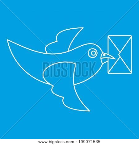 Pigeon bird flying with envelope icon blue outline style isolated vector illustration. Thin line sign