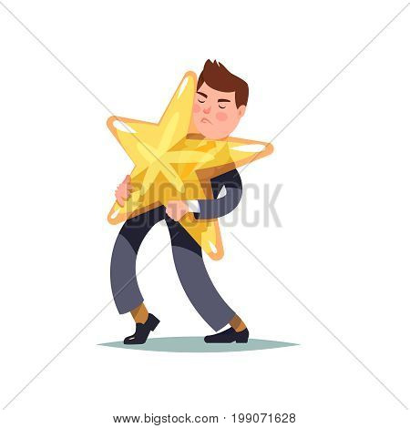Man carrying in his hands a gold star. Famous person burdened by his popularity. Vector cartoon illustration isolated