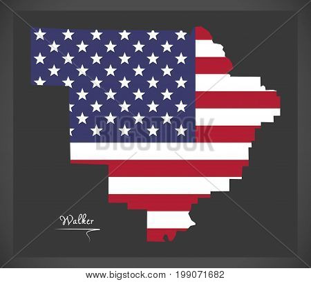 Walker County Map Of Alabama Usa With American National Flag Illustration