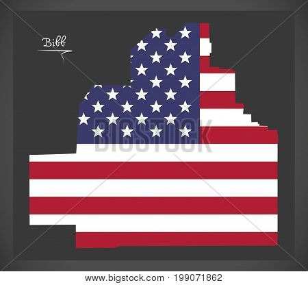 Bibb County Map Of Alabama Usa With American National Flag Illustration