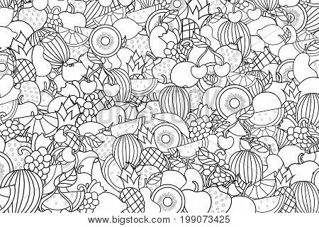 Fruits cartoon doodle outline design. Cute black and white lineart background concept for greeting card,  advertisement, banner, flyer, brochure. Hand drawn vector illustration.