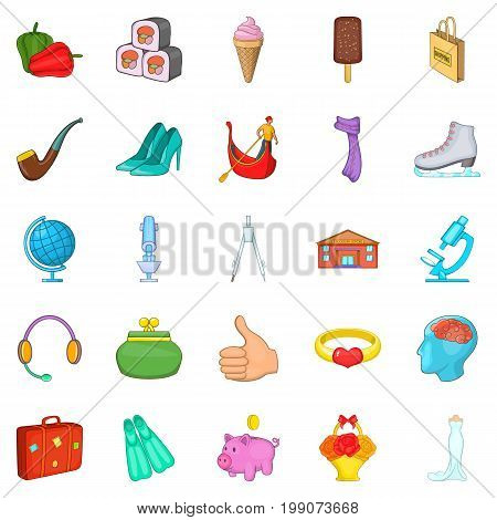 Weekend rest icons set. Cartoon set of 25 weekend rest vector icons for web isolated on white background
