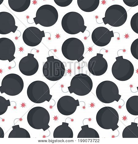 Lit bomb vector seamless pattern Flat design of weapon or military agression object wallpaper isolated on the white background cute vector illustration with reflections