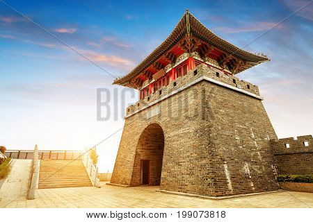Pagoda at the Great Wall of China. One of the Seven Wonders of the world. UNESCO World Heritage Site