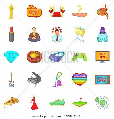 Weekend icons set. Cartoon set of 25 weekend vector icons for web isolated on white background