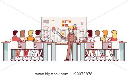 MBA business teacher giving lecture on strategic planning and marketing data analysis. Students listening seminar in modern classroom with laptops, big whiteboard. Flat thin line vector illustration.