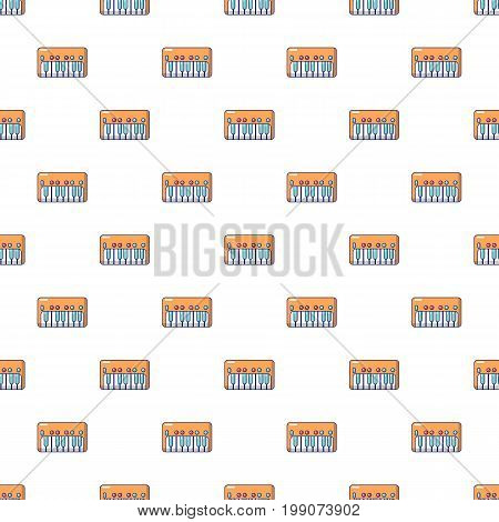 Synthesizer piano pattern in cartoon style. Seamless pattern vector illustration
