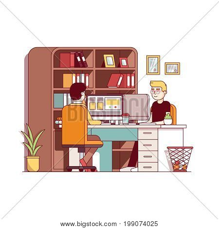 Accountants working together on desktop pc sharing office desk and room. Two man workplace with chairs, table and bookcase. Flat style thin line vector illustration isolated on white background.