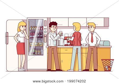 Business colleagues eating together in corporate office kitchen. Company employees having a coffee break, talking, drinking next to vending machine. Flat style thin line vector isolated illustration.